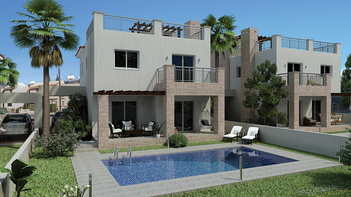 3 Modern City Villas with Private swimming pools for sale in the heart of the Tourist area in Kato Paphos
